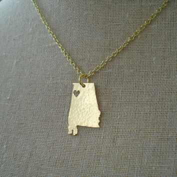 Home State Necklace  Customized by jomariejewelry on Etsy
