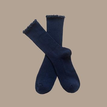 Princess Lulu Ruffle Socks | Navy