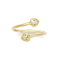 10k Yellow Gold Double Gem Heart Cubic Zirconia Toe Ring | Body Candy Body Jewelry