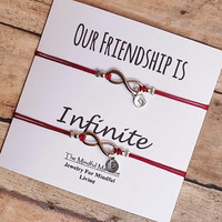 Infinity Bracelet Set, Matching Infinity Bracelets, Personalized Gift, Our Friendship is Infinite, BFF Gift, Friendship Bracelets