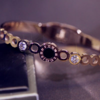 Bvlgari Round diamond ladies bracelet Titanium steel gold-plated rose gold