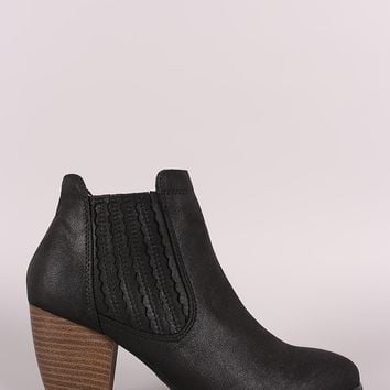 Qupid Distressed Chunky Heeled Chelsea Booties