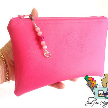 Makeup Bag Cosmetic Bag Pink Vegan Leather  Fully Lined Zippered Pouch