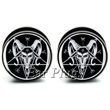 ac ICIKO2Q 1 pair  Baphomet ear plug gauges black acrylic screw fit ear plug flesh tunnel body piercing jewelry PSP0545