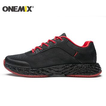 Onemix Man Running Shoes for Men Black Mesh Air Sole Cushion Breathable Designer Jogging Sneakers Outdoor Sport Walking Trainers