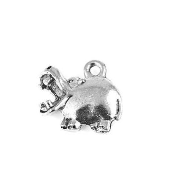 Cute Hippo Silver Pewter Charm -1