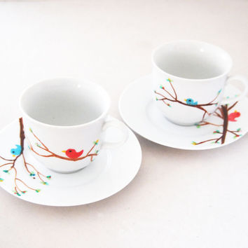 Bird on a Branch Hand Painted tea cups and saucer set of four - kitsch cute woodland