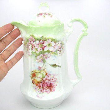 Floral Teapot Chocolate Pot Embossed White China Tea Pot w/ Pink Roses Green Accents Vintage Tea Party Antique Cottage Chic c. 1900's