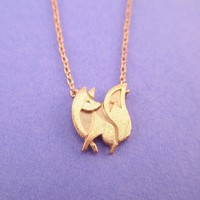 Baby Fox Shaped Silhouette Pendant Necklace in Rose Gold | Animal Jewelry