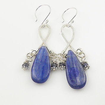 Kyanite Sterling Silver Dangle Earrings - keja jewelry