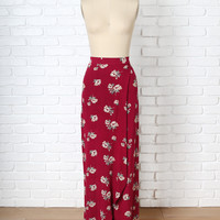 Red Floral Wrap Maxi Skirt