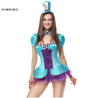 Kimring Sexy Mad Hatter Halloween Costume Alice in Wonderland Cosplay for Women Magician Adult Costume Fancy Dress