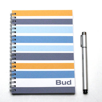 2015-2016 Planner, Personalized Groomsman Gift Idea, weekly planner, scheduler, custom calendar, blue mustard, SKU: pl blue stripe
