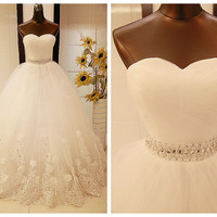 Ball Gown Sweetheart Strapless Floor-Length Tulle Lace Appliques Wedding Dress # 6009878