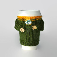 Packers cup cozy. NFL Green Bay jersey. Green yellow. Knitted travel mug warmer. Coworker gift. Starbucks cup sleeve. Mens gift. Office.