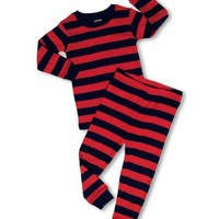 "Leveret ""Baby Boy"" Striped 2 Piece Pajama Set 100% Cotton (Size 6-18 Months) (18-24 Months, Red & Navy)"