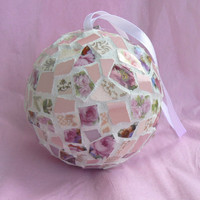Pink China Mosaic Holiday Ornament  Pique Assiette Roses