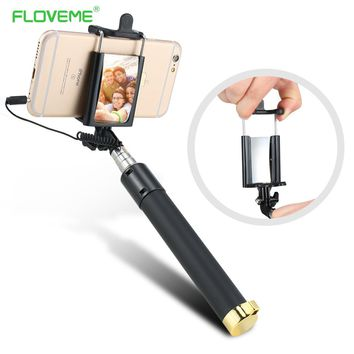 FLOVEME Wired Handheld Universal Selfie Stick Monopod Extendable Mini Portable With Mirror For iPhone For Samsung For Xiaomi
