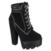 Wild Diva Vive-11 All Black Lug Sole Lace-Up Chunky Platform Bootie Heel   Shiekh Shoes