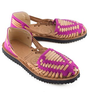 Women's Magenta Woven Leather Huarache Sandals