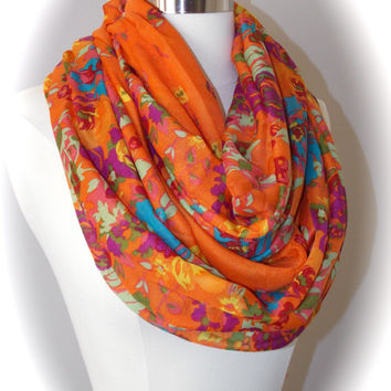 Summer flower scarf/flower infinity scarf/colorful flowers/orange scarf