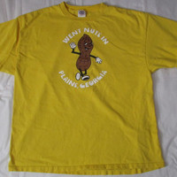 14-1120 Vintage Yellow Went Nuts in Plains Georgia T Shirt / Plains Georgia T Shirt / Peanut T Shirt /  Souvenir T Shirt / Georgia T Shirt