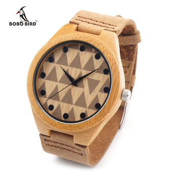 Watches Bamboo Wooden Wristwatch With Genuine Cowhide Leather Band Lovers Luxury Wood Watches For Men and Women
