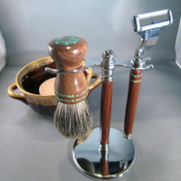 Guy's shaving kit razor brush badger hair steampunk handmade wood men's gifts birthday father's day Personalized Gillette Mach3 CUSTOM ORDER