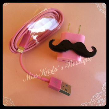 Cute Mustache Bow Pink Phone Case USB wall charger data sync cable for iphone 4 4s 5