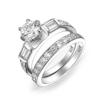 2CT Solitaire Baguette CZ Engagement Wedding Ring Set Sterling Silver