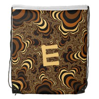 Cool brown stripped fractal. Monogram. Drawstring Backpack