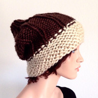 Hand knitted winter beanie