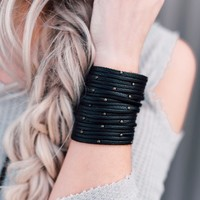 Studded + Sliced Wide Leather Cuff - Black