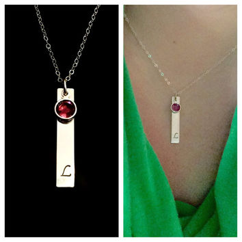 Simply Beautiful Hand Stamped Sterling Silver Bar Initial Necklace with Swarovski Birthstone by Tickle Bug Jewelry