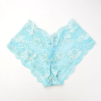 Lace French Knickers in Aqua by Brighton Lace