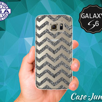 Gray Sparkle Chevron Pattern Glitter Cute Case for Clear Rubber Samsung Galaxy S6 and Samsung Galaxy S6 Edge Clear Cover