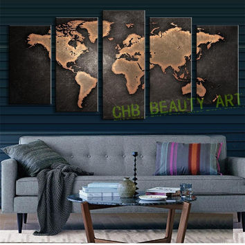 5 Pcs/Set Modern Wall Art Painting Vintage World Map Canvas Painting for Living Room Home Decor Picture Unframed