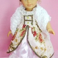 "(BLOW OUT!)** RUBY ROSE ** Elizabethan Age - Elegant Victorian Gown with Furry Hat & Scarf ~ Fits 18"" American Girl Dolls"