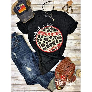 Baseball is Life Leopard Graphic Tee (S-2XL)