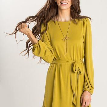 Corinne Chartreuse Longsleeve Dress