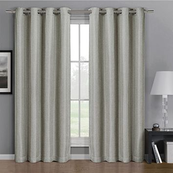 Linen 52x96 Gulfport Faux Linen Blackout Weave Grommet Window Curtain Panels