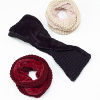 Knit and Fur Combo Infinity Scarf