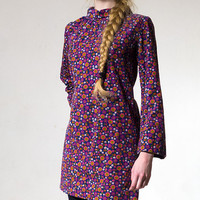60s Mini Dress Corduroy Floral Pattern Violet Purple Longsleeved  Hippie Flower Power Small to Medium