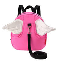 Anti-lost Kindergarten Backpack Cute Angel Shoulder Bag Children School Bag-Pink
