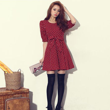 Wine Red Puff Sleeve Waist Tie Mini Dress