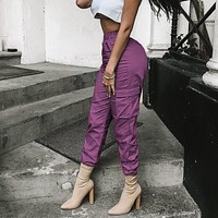 Women Fashion Solid Color Multi-pocket Cargo Pants High Waist Leisure Pants Trousers