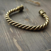 Bronze bracelet with runes, men's bracelet, norse runes, free shipping