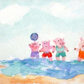 Original  Pigs Playing in the Water at the by SharonFosterArt