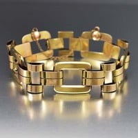 Vintage 12K Gold over Silver Square Link Art Deco Bracelet