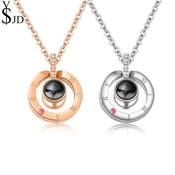 YSJD Fashion Stainless Steel Jewelry 100 Languages I Love You Projection Pendant Necklace Romantic Love Memory Wedding Necklace
